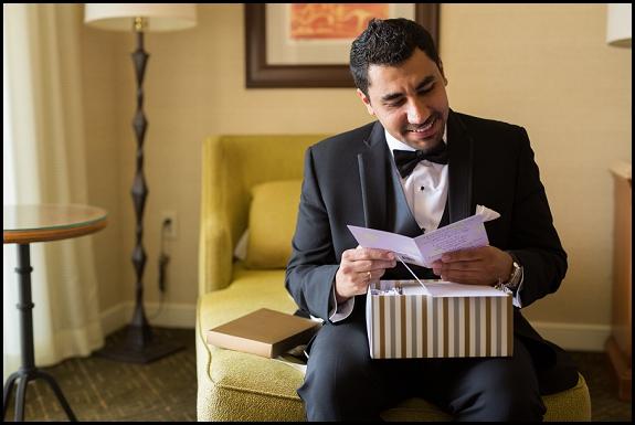 groom in wedding suite at hyatt regency resort and spa