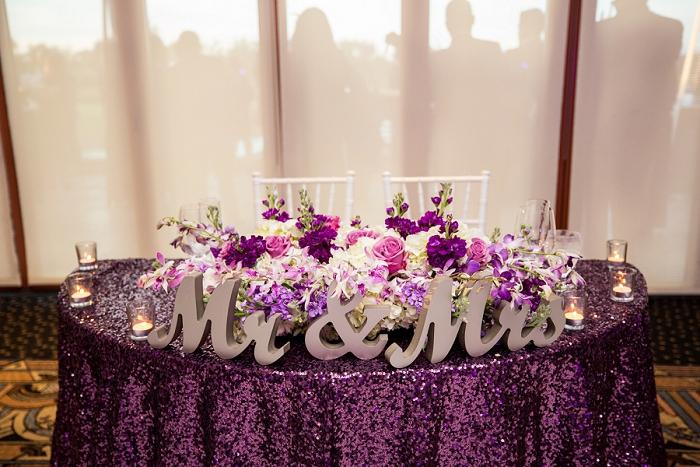 plum sequin wedding linen
