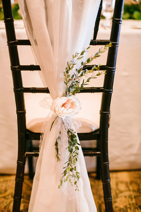 wedding flowers on chairs
