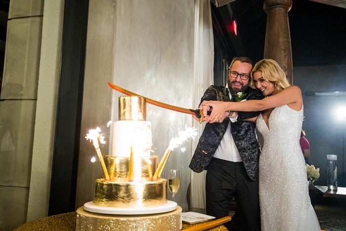 sparkler wedding cake