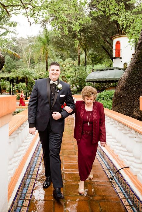 groom escorting grandmother