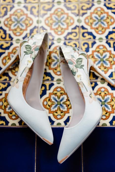 garden floral wedding heels