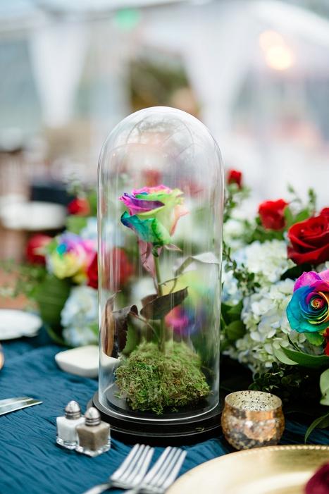 rainbow rose centerpiece